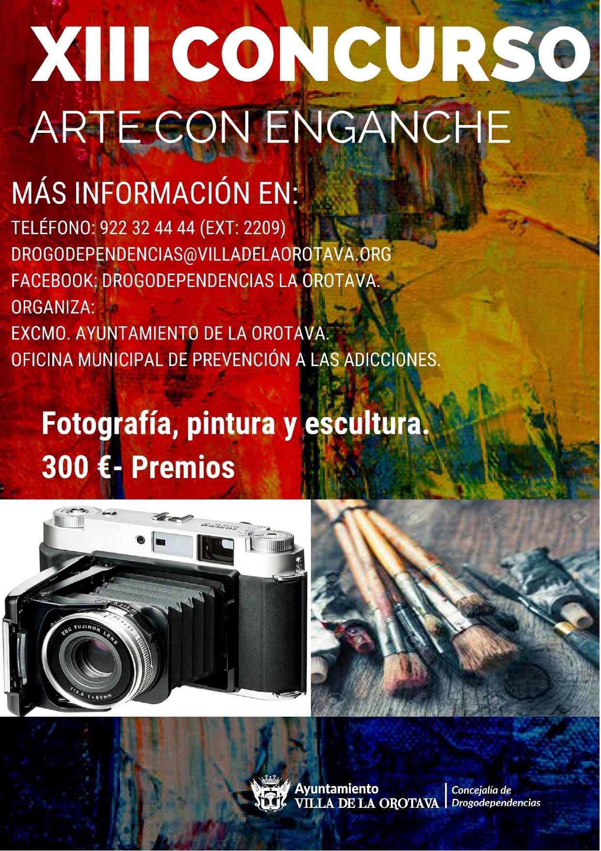 La Concejalía de Drogodependencias del Ayuntamiento de La Orotava, que dirige la edil Candelaria García, organiza un año más el certamen que aglutina las modalidades de fotografía, pintura y escultura