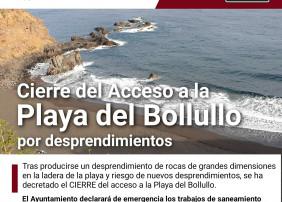 Cierre del acceso a la Playa del Bollullo por desprendimientos